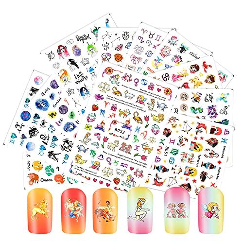 Anself 12 Feuilles 3D Autocollant à Ongles, Nail Sticker Mix Color Floral Design Nail Art Stickers Douze Constellation Design Elements Nail Stickers Manucure Beaux Accessoires De Mode Décoration