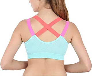 Ritu-Creation Women Synthetic Padded Non-Wired Sports Bra (RCWSB0010_Light Blue_Free Size)