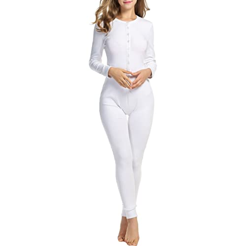 c2740579288d Hotouch Womens Long Sleeve Onesie Union Suit Thermal Underwear Set Sleepwear  Pajama Jumpsuit Union S-