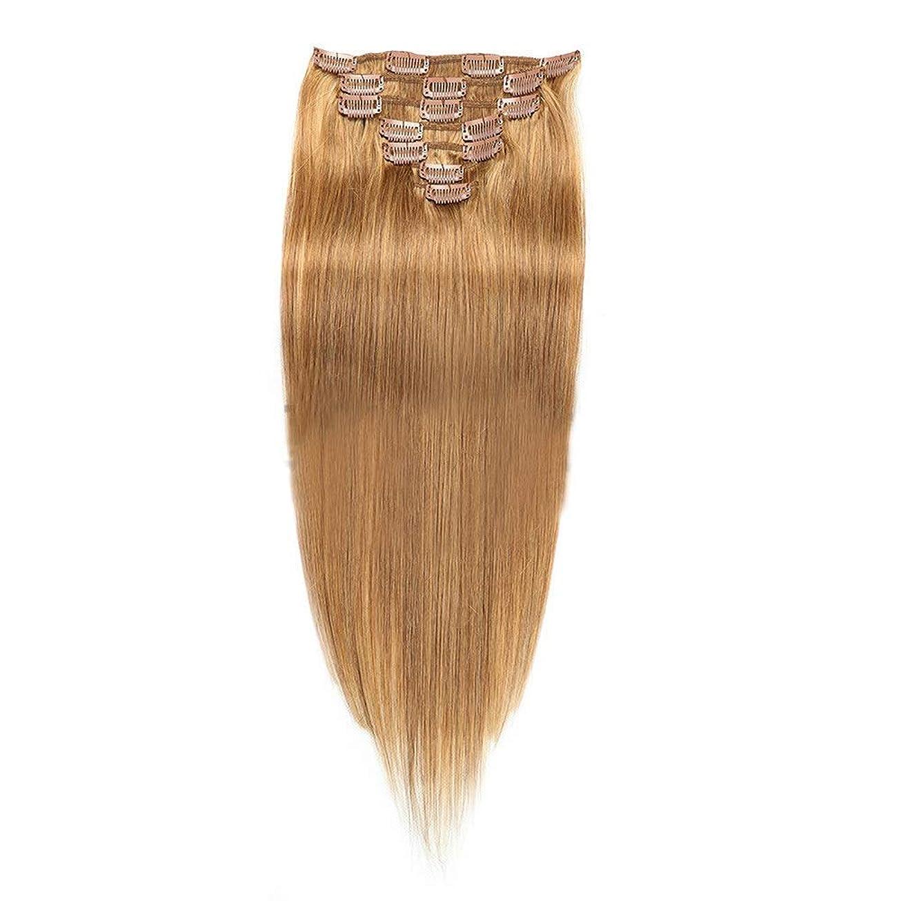 学校教育不条理隙間HOHYLLYA 22インチヘアエクステンション#12明るいブロンドカラーリアルクリップin人間のヘアエクステンションストレートナチュラル探してロールプレイングかつら女性のかつら (色 : #12 bright blonde)
