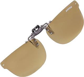 日本製 偏光 前掛け クリップ 式 サングラス メガネの上から 紫外線カット UVカット 超軽量 跳ね上げ式 男女兼用 レトロ クラシックデザイン キーパー 9331