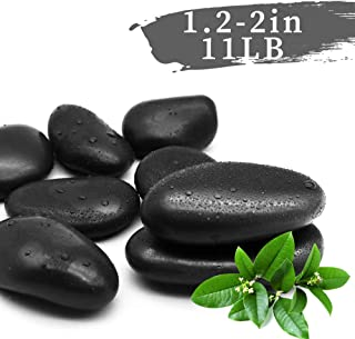 LONGHUI Technology Black Pebbles Decorative Ornamental River Rocks Tumbled and Polished Stones for Landscaping, Home Décor, Crafts, Art Project etc, 1.2-2 in, 11 LB