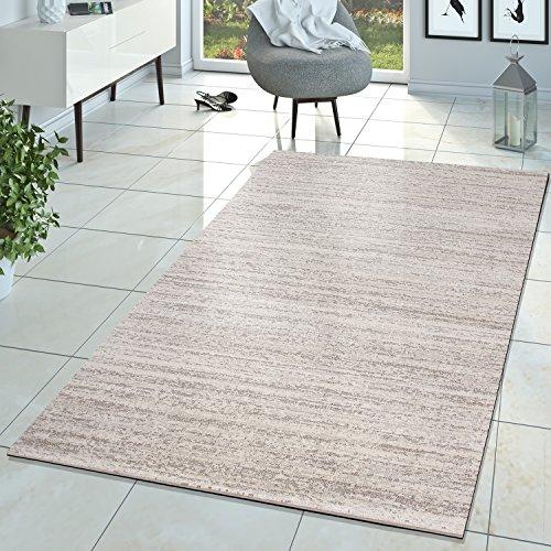 T&T Design Braga Tapis de salon moderne à poils courts - uni, chiné, couleur crème, ivoire, 200x280 cm