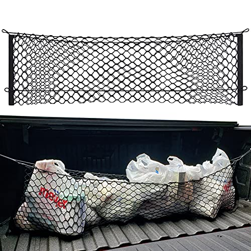 MICTUNING Truck Bed Cargo Net, Envelope Style Storage Elastic Mesh Net Organizer with Hooks Compatible for Chevrolet Silverado 2013-2021