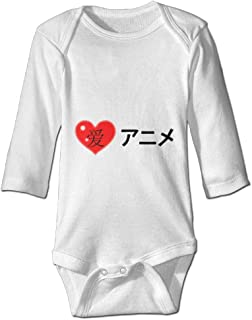 Printed I Love Anime in Japanese Funny Newborn Toddler Baby Long Sleeves Playsuit Outfit Clothes