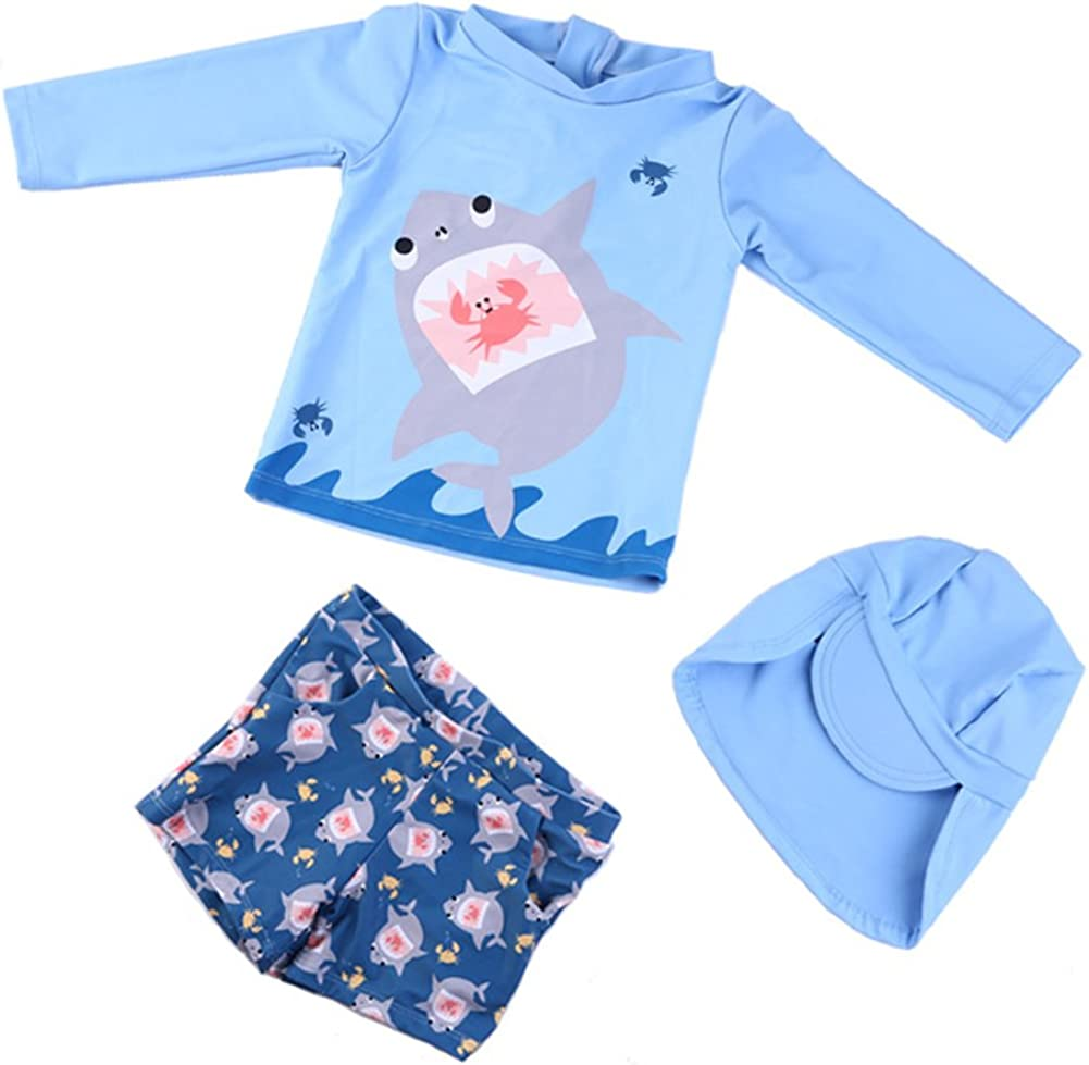 Toddler Baby Boys Ranking TOP16 Long Sleeve New sales Swimsuits Ras Kids Piece Shark Two