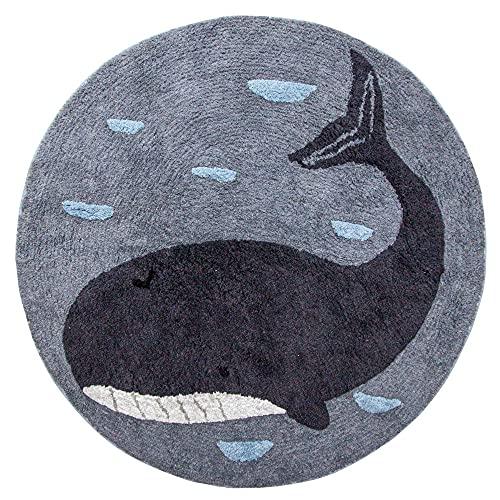 Sebra - Kinderzimmer-Teppich - Marion der Wal - Baumwolle - blau - D 120 cm
