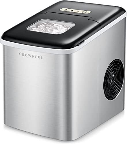 CROWNFUL Ice Maker Machine for Countertop, 9 Ice Cubes Ready in 7 Minutes, 26lbs Bullet Ice Cubes in 24H, Electric Ic...