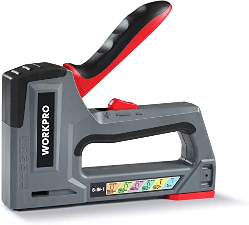 wholesale WORKPRO outlet sale Staple Gun, 6-in-1, Manual Brad Nailer, Upholstery Stapler, Nail Gun for Fixing Material, lowest Decoration, Carpentry, Furniture, Doors and Windows (Tool Only) sale