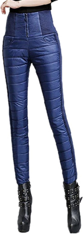 David SALC Women Pant High Waist Warm Work Slim Womens Formal Trousers Long Black bluee XXXL