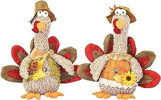 Hanna's Handiworks Long Neck Colorful Turkey Friends 12 x 10 Inch Fabric Harvest Tabletop Decorative Figurines, Set of 2
