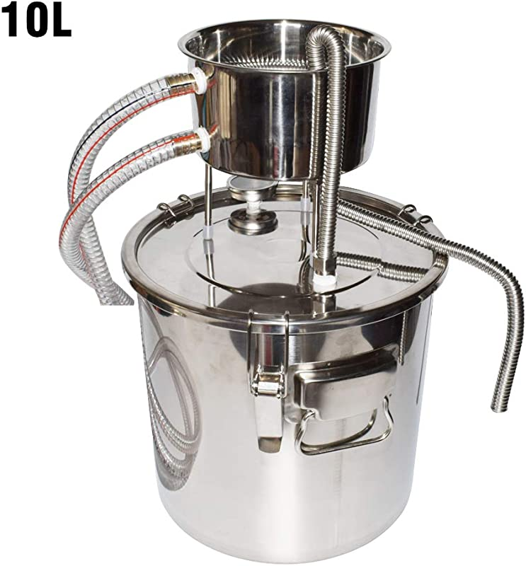 DIY Home Distiller Moonshine Still Stainless Boiler Thermometer Wine Spirits Essential Oil Water Brewing Kit 10L