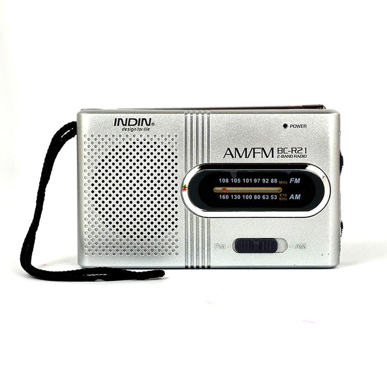 オーラル検体嵐KKmoon BC-R21ミニラジオ ポータブルスピーカー AM FM調節可能 伸縮式アンテナポケットラジオ