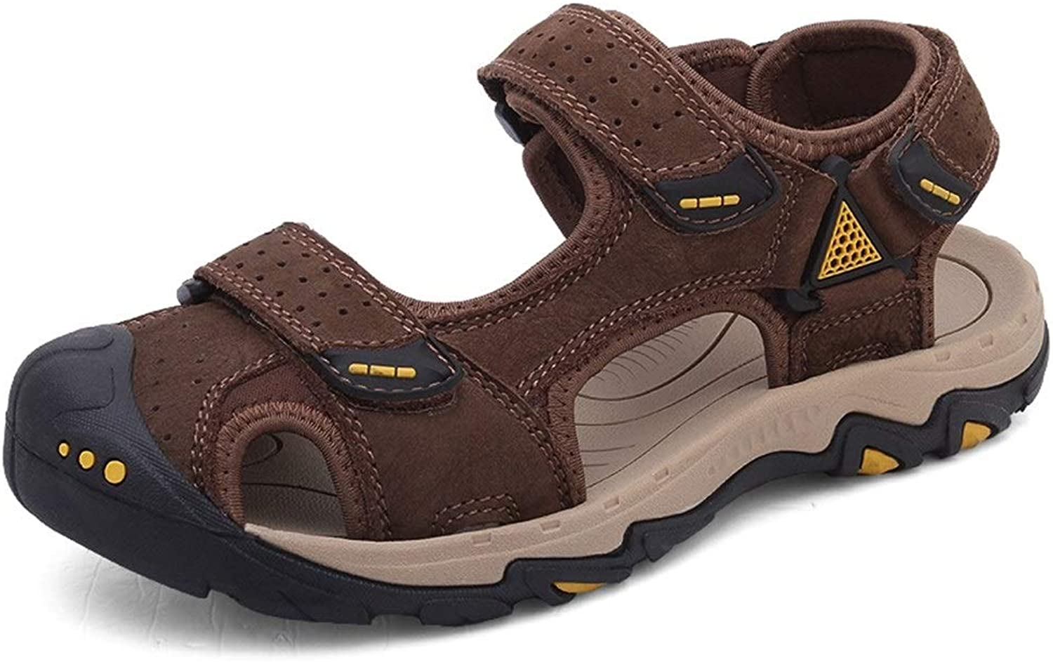 Easy Go Shopping Hiking Sandals for Men Summer Water Beach shoes Suede Leather Mesh Fabric Lining Hook&Loop Strap Cricket shoes (color   Brown, Size   9.5 UK)