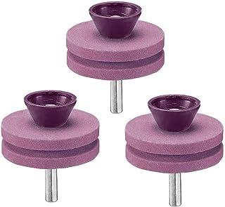 RNICE Afilador de cortacésped, 3 piezas de doble capa de corindón cortadora de césped cortadora de césped afilador para taladro manual eléctrico