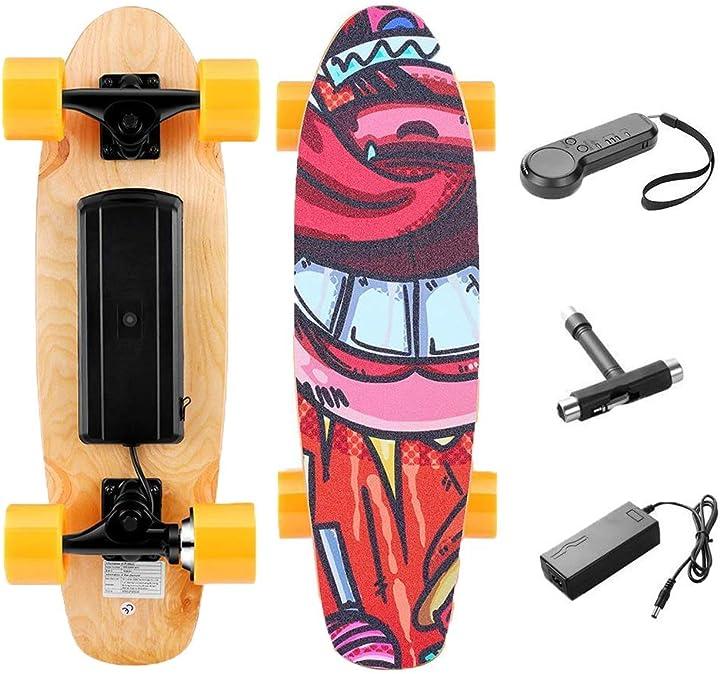 skateboard elettrico con telecomando 3 velocità motore da 350w velocità max 20 km/h load max 80kg b08dtzlcff