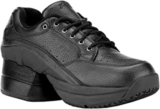 Z-CoiL Pain Relief Footwear Men's Legend Slip Resistant Enclosed Coil Black Leather Tennis Shoe