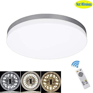 DLLT 24W Modern Dimmable Led Flushmount Ceiling Light Fixture with Remote-13 Inch Round Close to Ceiling Lights for Bedroom/Kitchen/Dining Room Lighting, Timing, 3000K-6000K 3 Light Color Changeable