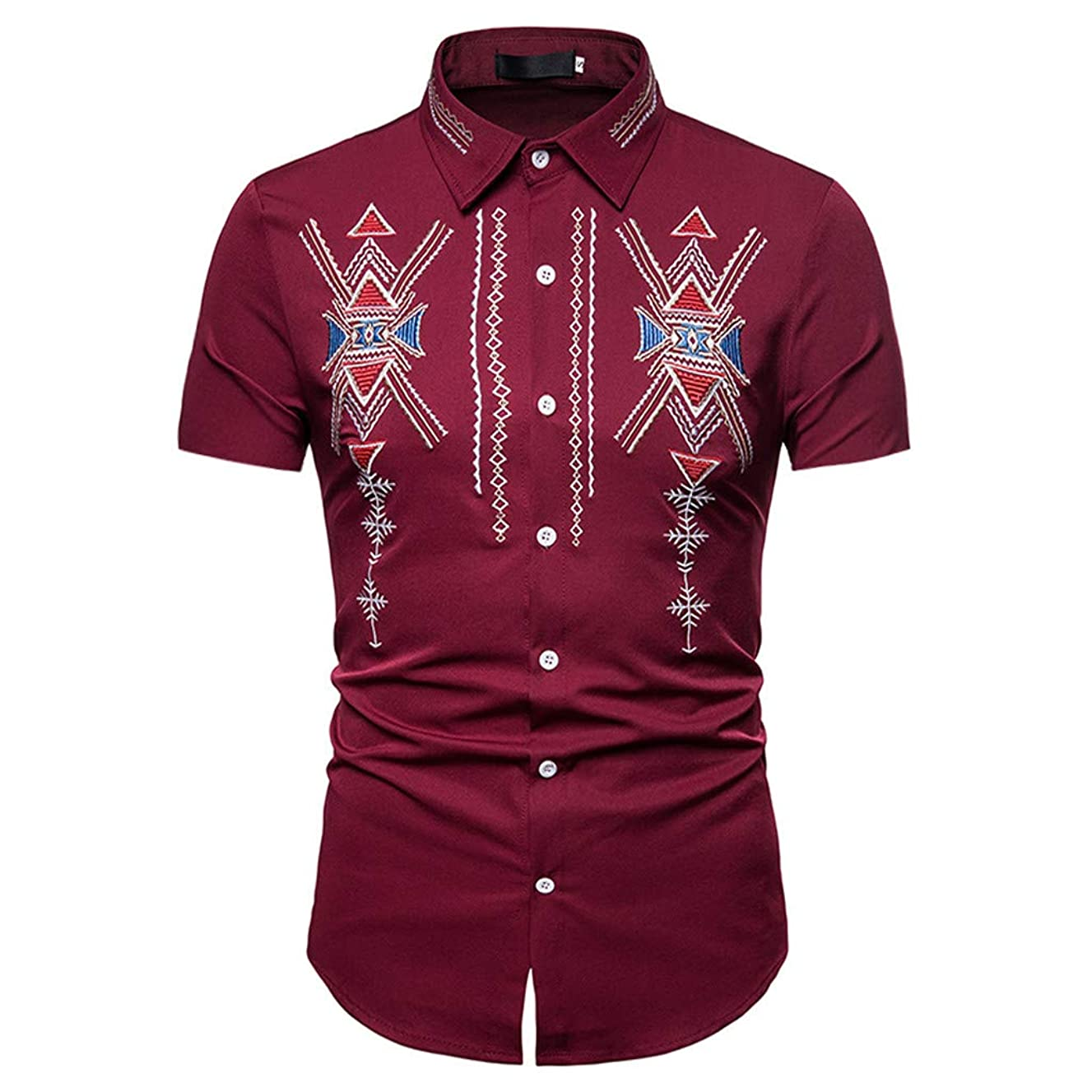Rakkiss_Men Shirts Fashion Solid Embroidery Exquisite Tops Lapel Slim Fit Blouse Summer Short Sleeve Tee
