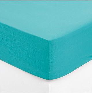 Maison futée - Drap housse 2 personnes 140x190 cm 100% Coton - Turquoise