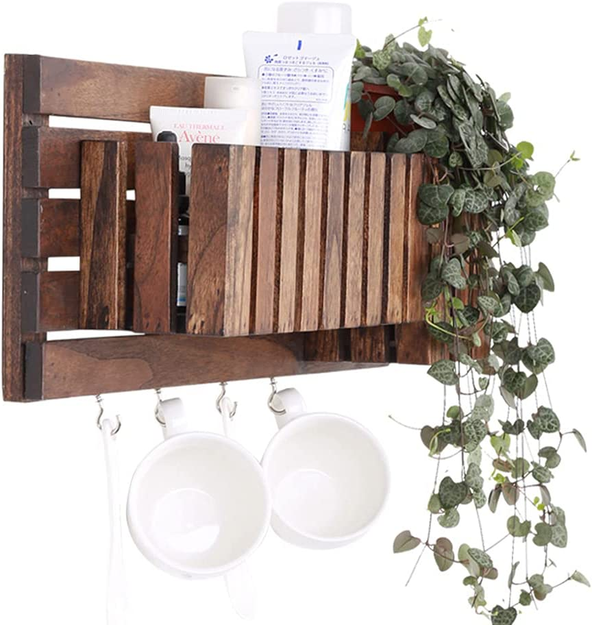 Attention brand MYHZH Wall Mounted Entryway Floating Shelf with Hooks Wood Coat Ranking TOP1