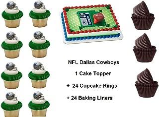Dallas Cowboys Football Cake Topper Set Cupcake 24 Pieces plus 24 Cupcake Baking Liners 49 PCS