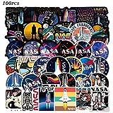 100pcs NASA Sticker Cool Space Astronaut Stickers Packs Laptop Skateboard Sticker Bomb Pack for Adults Teens Kids Skate Water Bottles Waterproof Vinyl Graffiti Stickers Decor Gifts