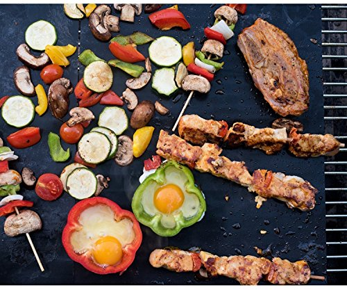 BBQ Grillmatte (5er Set), LoveisCool Silikon Grillmatte und Backmatte , Teflon Antihaftbeschichtung für bis 380°C, Grillmatte Geeignet zum Grillen, Ofen und Speisenheizung ( 40x33 CM, Schwarz)