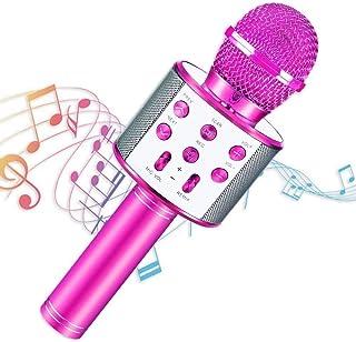 Micrófono Karaoke Bluetooth, Portátil Inalámbrica Micrófono con Altavoz y LED, Karaoke Inalámbrico Bluetooth para niños, n...