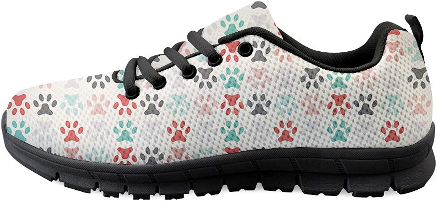 Owaheson Lace-up Sneaker Training shoes Mens Womens colorful Pet Paw Print