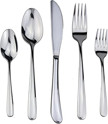 CTKcom 5-Piece Stainless Steel Flatware Silverware Set,Mirror Polished Luxury Design Kitchen Tableware Use for Kitchen & Hotel & Restaurant,Include Knife/Fork/Spoon/Brown Gift Box,100% Rust Proof