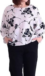 [サワ アラモード] 可愛らしい 花 刺繍 広がる 大人 ブラウス レディース ファッション トップス ブラウス シャツ 花柄 刺繍 春服 7分袖