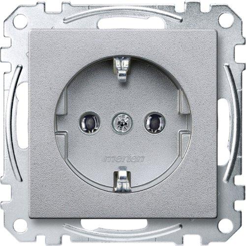 Merten MEG2301-0460 SCHUKO-stopcontact, steekklemmen, aluminium, systeem M