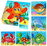 Afufu Juguetes de Madera 2 3 4 Años, Bloques de Rompecabezas Animales Juegos Educativo Montessori Puzzle de Cubos, Regalos de Cumpleaños de Navidad para Pequeños Bebés Bebes Niños Niñas