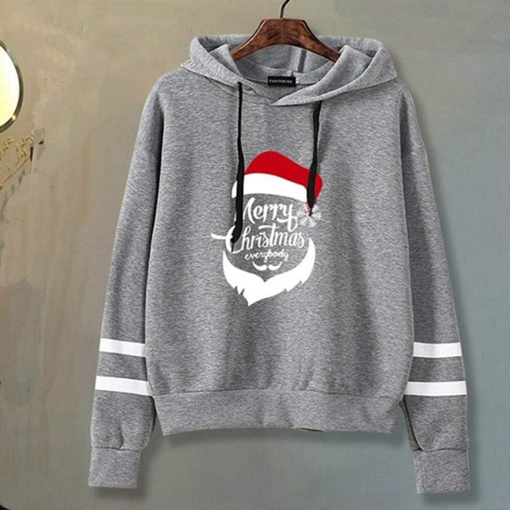 HULKY Damen Hoodie Kapuzenpullover Frauen mit Kapuze Langarm Streifen Brief Bär/Weihnachtsdruck Tunnelzug Pullover Pullis Sweatshirt Kurz Hoodie T-Shirt für Teenager Mädchen Grau