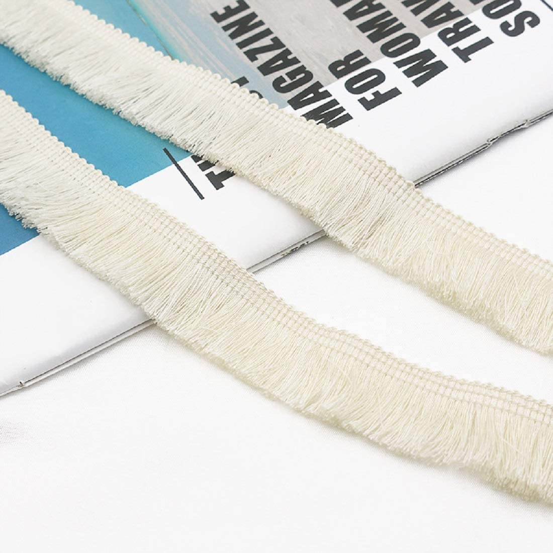 Beige Yalulu 25 Meter X 1 Inch Wide Fringe Tassel Trim Fabric Ribbon DIY Sewing Accessory Lace for Curtain Clothes Home Decoration