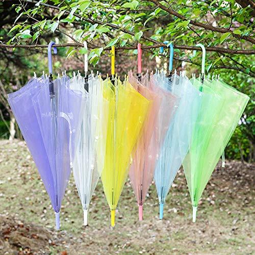 JIANG Koreanische Version des kreativen Regenschirm PVC Farbe rot transparent Regenschirm Mode Schatten Wind und Regen Regenschirm gerade Langen Griff Regenschirm Großhandel weiß 70 * 90cm, weiß