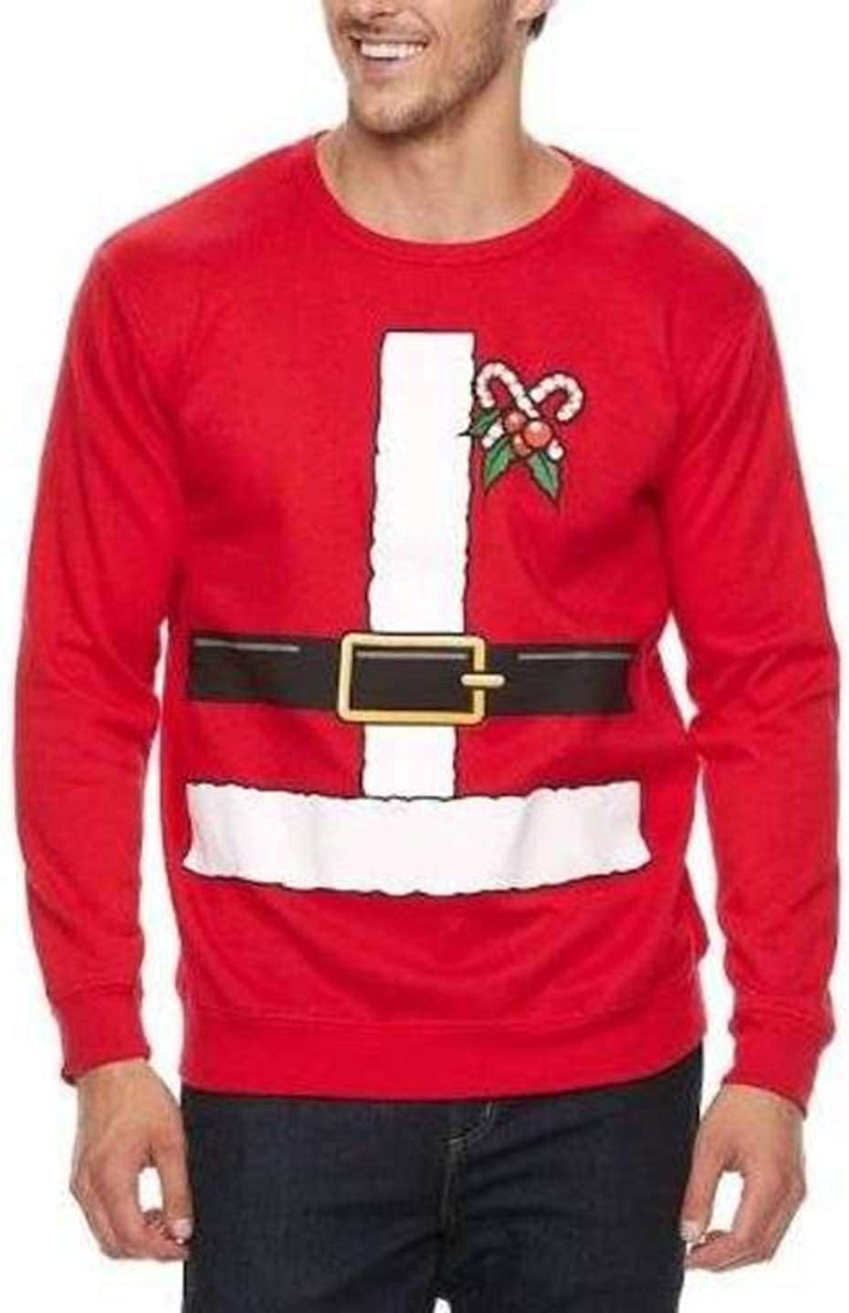 Holiday Fun Mens Big & Tall Long Sleeve Crewneck Fleece Ugly Christmas Sweatshirt (Red, LT)