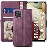 YATWIN Funda Samsung Galaxy M12 con 1 Protector de Pantalla, y Compatible para Samsung A12, Premium Flip Folio Carcasa para Samsung M12, Soporte Plegable, Funda para Samsung A12, Vino Rojo