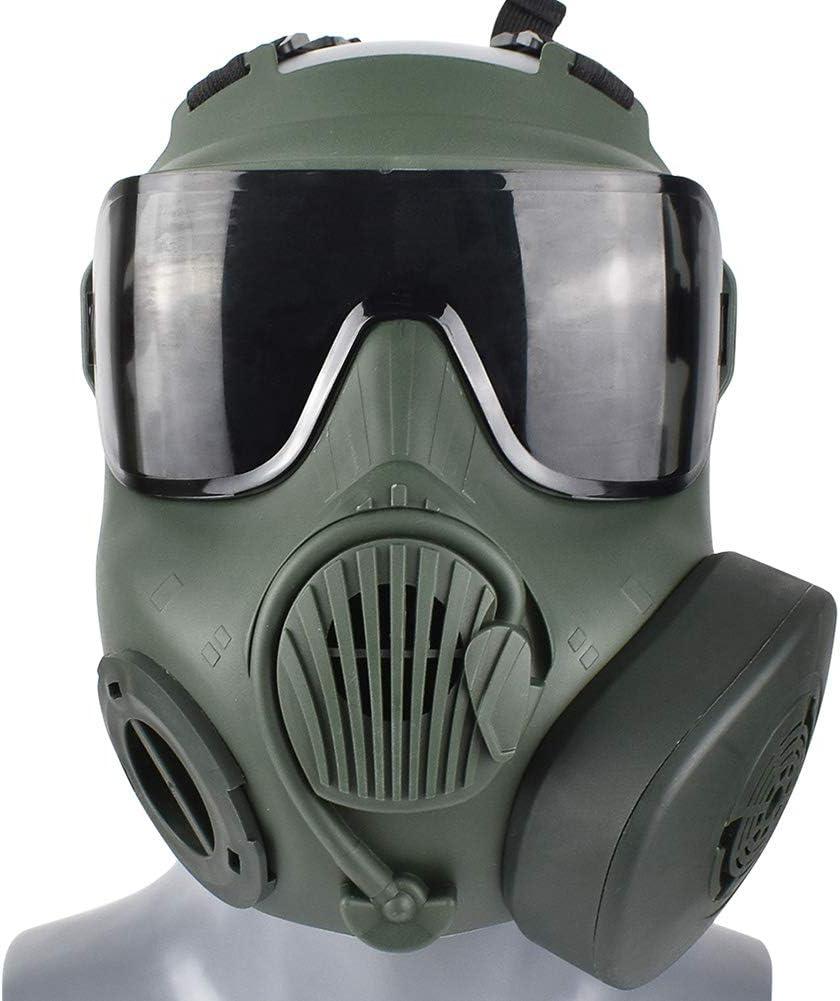 WTZWY Airsoft Tactical Full Face Mask - Gafas de protección Ocular Máscara Calavera con Ventiladores Doble Filtro Correa Ajustable para BB Gun CS Juego Disfraz de Cosplay Halloween