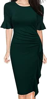 Women's Business Retro Ruffles Bell Sleeve Slim Cocktail Pencil Dress