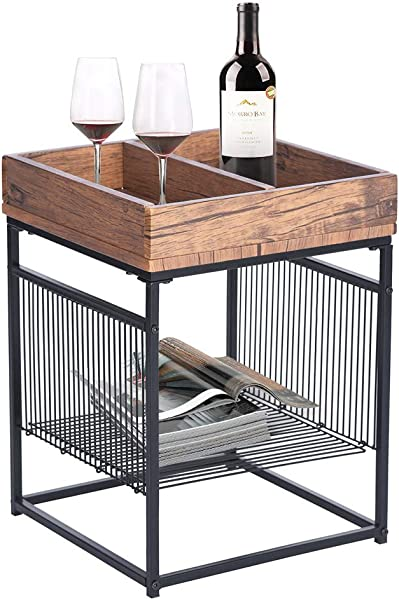 GreenForest End Table Industrial Style Side Table Nightstand With Metal Frame Storage Shelf Walnut