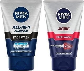 NIVEA Men Face Wash, All-In-One, 10x Vitamin C, 100ml and Nivea Men Acne Face Wash, 100g