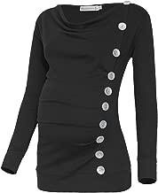 Black Cherry Women's Long Sleeve Cowl Neck Buttons Maternity Pregnancy Tunic Top T-Shirt