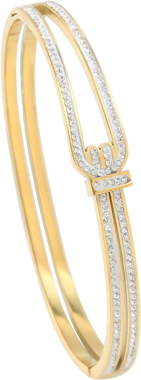 SURPASS Bracelet for Women with Rhinestone, Gold Plated Double Bangle Bracelet for Women 2.3