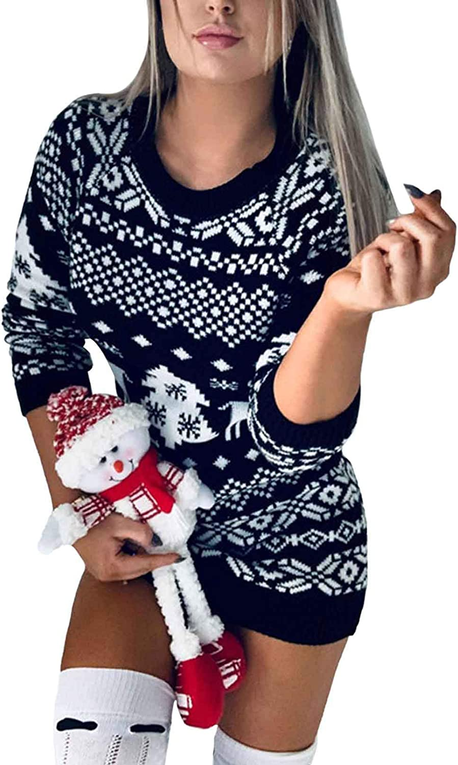 Women's Christmas Reindeer Snowflakes Cute Sweater Pullover Christmas Trees Knit Mini Dress