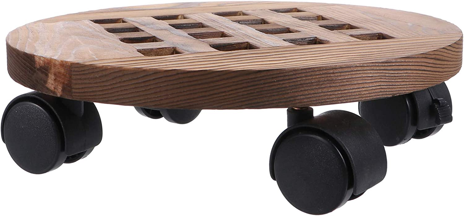 Ranking TOP16 Wooden Plant Pallet Caddy Round Wheels with Super intense SALE Pla Stand 25cm