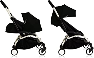 BabyZen Yoyo+ Stroller Bundle - White Frame, Black Fabrics (Yoyo+ Stroller, Canopy, & Newborn Set)