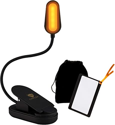 Book Light for Reading in Bed at Night by OWLER, Clip On Amber Book Light, Warm LED Reading Night Light, USB Recharge...