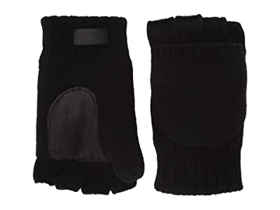 UGG Knit Flip Mitten with Tech Leather Palm and Sherpa Lining (Black) Extreme Cold Weather Gloves